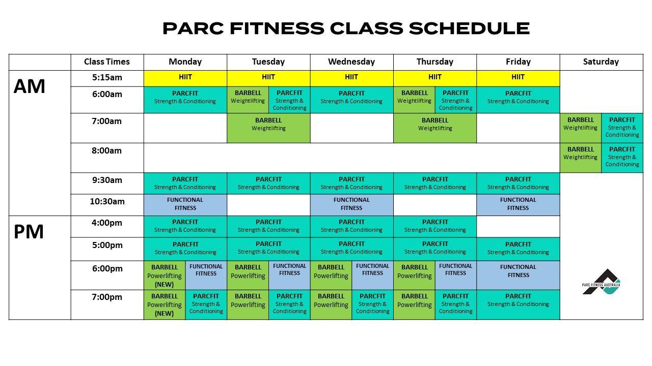 Parc Fitenss Class Schedule